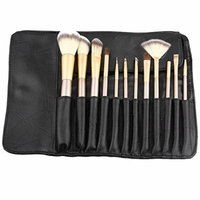 Hoter 12 Pcs Champagne Professional Makeup Brush Set - Black