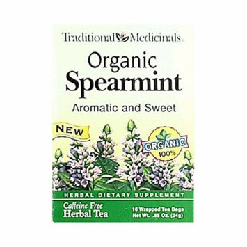 Traditional Medicinals Organic Spearmint Herbal Tea - 16 Tea Bags - Case of 6