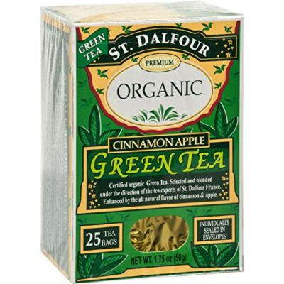 St Dalfour Organic Green Tea Cinnamon Apple - 25 Tea Bags - Case of 6