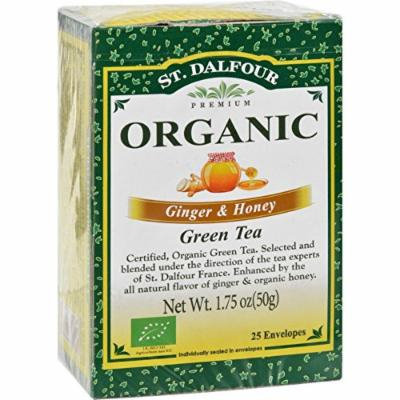 St Dalfour Organic Green Tea Ginger and Honey - 25 Tea Bags - Case of 6