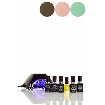 UV-NAILS BEST Salon Quality UV Gel Nail Polish Starter Kit with Black LED Lamp colors: G-62, G-35, G-65