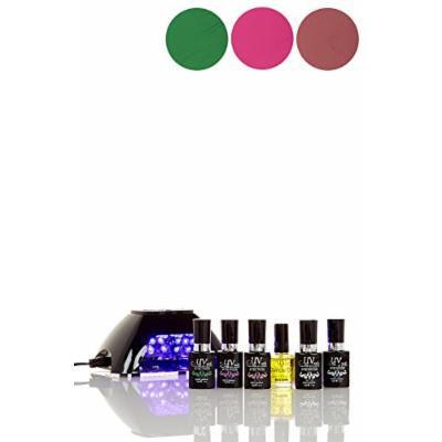 UV-NAILS BEST Salon Quality UV Gel Nail Polish Starter Kit with Black LED Lamp colors: G-49, G-20, G-29