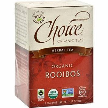 Choice Organic Teas Rooibos Red Bush Tea - 16 Tea Bags - Case of 6 - 95%+ Organic -