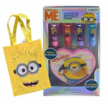 Despicable Me Minions Made Girls 4pc Lip Gloss Collection with Heart Shaped Tin! Plus Bonus Minion Resuable Mini Tote Bag!