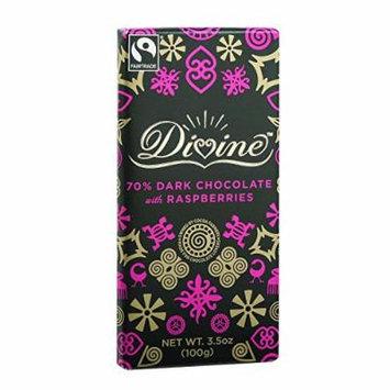 Divine Chocolate Bar - Dark Chocolate - 70 Percent Cocoa with Raspberries - 3.5 oz Bars - Case of 10 - Kosher