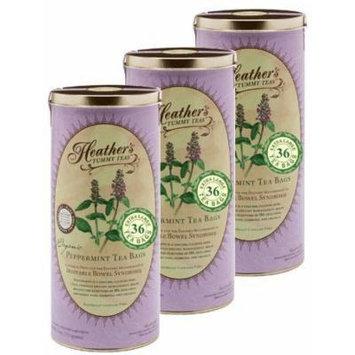 Heather's Tummy Tea Peppermint Tea Bags BULK KIT for Irritable Bowel Syndrome ~ Heather's Tummy Teas Organic Peppermint Teabags (3 Cans, 108 Jumbo Teabags) by Heather's Tummy Care