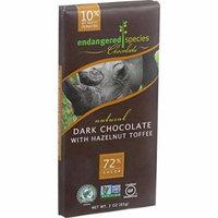 Endangered Species Natural Chocolate Bars - Dark Chocolate - 72 Percent Cocoa - Hazelnut Toffee - 3 oz Bars - Case of 12 - Gluten Free -