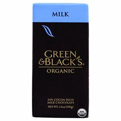Green and Blacks Organic Chocolate Bars - Milk Chocolate - 34 Percent Cacao - 3.5 oz Bars - Case of 10-95%+ Organic -