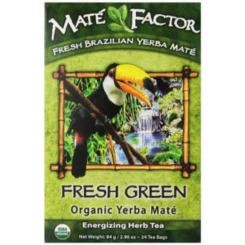 The Mate Factor Yerba Mate Energizing Herb Tea Bag, Organic Fresh Green, 24-Count Box by The Mate Factor