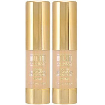 MILANI MINERALS Mousse Foundation #302 NUDE BUFF (0.50 fl oz/15 ml) EACH TUBE (PACK OF 2)