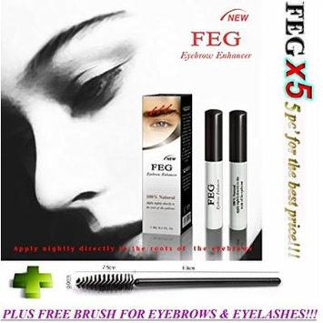 5 X FEG Eyebrow Enhancer Growth Liquid/Serum. 100% Original with Anti-Fake sticker!!! + Eyelashs and eyebrow brush!!!