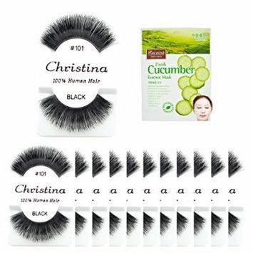 12packs Eyelashes - #101 Christina 100% Human Hair Fake Eyelashes