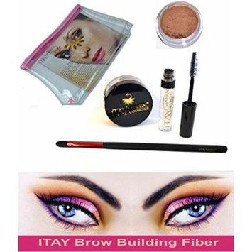 Bundle 4 Items: Itay Beauty Brow Building Fibers Set Clear Gel Setting (Fibers + Clear defining Gel +Brush+Cosmetics Bag) (Light Brown)