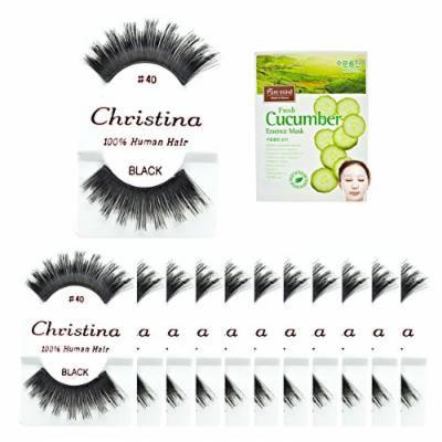 12packs Eyelashes - #40 Christina 100% Human Hair Fake Eyelashes