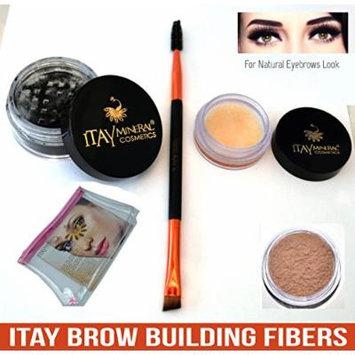 Bundle 4 Items: Itay Beauty Brow Building Enhancer Fibers Shaper Wax Duo Brush Spoolie & Angled & Cosmetic Bag (Medium Blonde)