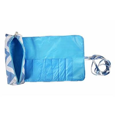 2 Pcs Set Brush Rolling Organizer Cosmetic Bag Chevron Light Blue White, CASE OF 12