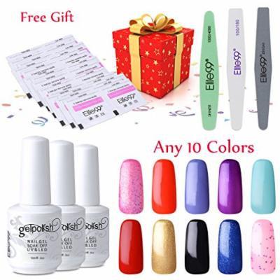 Elite99 Pick Any 10 Colors Soak Off Gel Nail Polish UV LED Color Nail Art Gift Set + Nail Sanding Files Buffer Polisher Manicure Tools + 20 PCS Free Remover Wraps