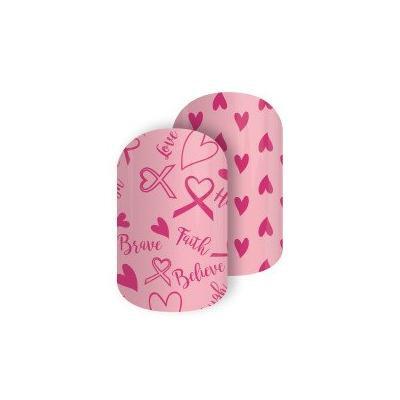 Jamberry Ribbons & Hearts Nail Wrap 0316 43A1 (Full Sheet) Breast Cancer Awareness