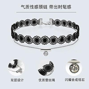Generic Hot_ Double women girl necklace pendant personalized fashion accessories ,_ jewelry neck neckband _sexy_ black lace _princess_ Korea