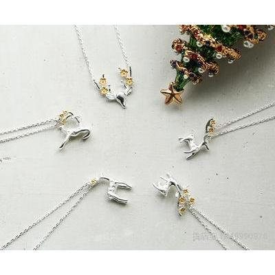 Generic Antlers_ little _princess_ necklace pendant stylish _simplicity_e long ated_braided_deer_ pendant necklace girl students _equipped_ birthday