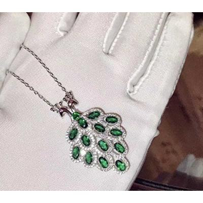 Generic 925_ sterling silver _full_ diamond Emerald Emerald Peacock _coat_noble_ temperament ladies wedding party necklace pendant