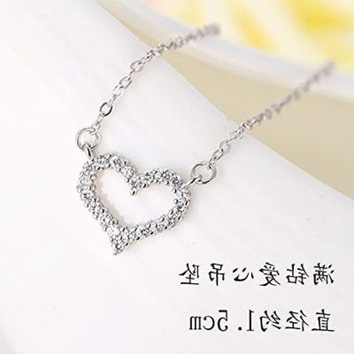 Generic heart - shaped silver s925 _Cversion_of_the_ new _micro-studded_drill_ simple fashion pendant necklace