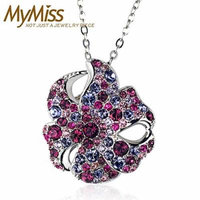 Generic ss_Maimi_its_Special_ 925 silver _plated_platinum_ necklace pendant clavicle women girl Korean colorful _florid_ pendant s