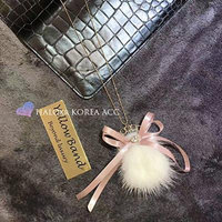 Generic Dongguk_door_mink_ ball _fans_with_a_ sweet _bow_ sweater chain necklace pendant