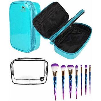 JE Bundle (3 PCS Set) Blue Bold Color + Clear PVC Cosmetic Bag + (7 PCS Set) Makeup Eyeshadow & Concealer Pro Brush Set