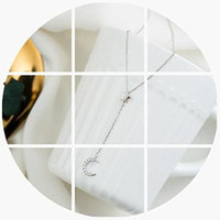 Generic Creation_excellent_ custom er_product_ s925 silver moon _and_stars_ pendant necklace women girl student _minimalist_ Korean _version_of_ sweet temperament fashion