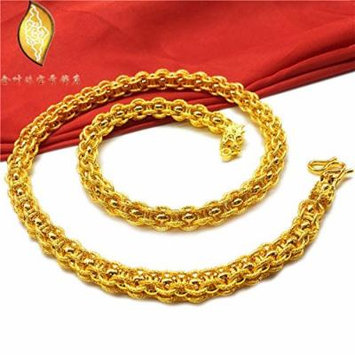 Generic Vietnam_alluvial_ gold necklace pendant men man boy _artificial_Jinshuang_ long _head_24K18K_ gold-plated jewelry European _currencies_lasting_ color _retention
