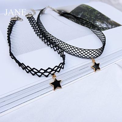 Generic black lace short necklace pendant women girl clavicle women girl _money_ ring short black lace neck chain clavicle Korean _super_cents_Ribbon
