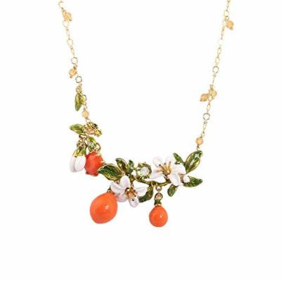 Generic summer _leaves_orange_blossom_Kapok_Provence_glazed_enamel_ diamond necklace pendant short _paragraph