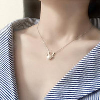 Generic small _mother_of_ pearl silver pearl birthday gift lovely _antlers_literary_ fashion short necklace pendant clavicle _pure_S9