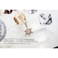 Generic 65_ultra-_orders_make_up_a_ single _snowflake_ necklace pendant Korean _delicate_sparkling_ gold _plated_strong_ color _retention