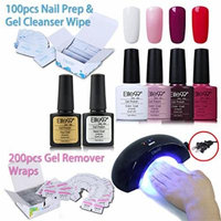 Elite99 Nail Art Set, 4 color Nail Gel Polish + Base Top Coat + 6W Nail Lamp(US Plug) + 200pcs Gel Remover Wraps + 100pcs Nail Prep & Gel Cleanser Wipe C025