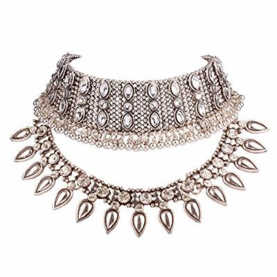 Generic 4172_ new European _and_ American retro _exaggerated_ personality silver collar necklace pendant _influx_of_ women _multilayer_ diamond _explosion_ models _k