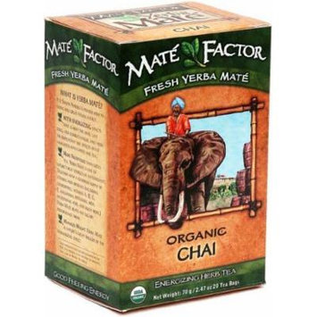 The Mate Factor Yerba Mate Energizing Herb Tea, Chai, 20 Tea Bags by The Mate Factor
