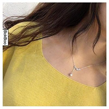 Generic k_Dongguk_door_ flower butterfly pearl pendant necklace clavicle short chain _1351