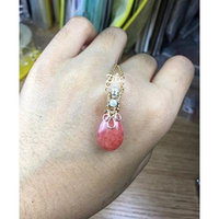 Generic Winding_hand-made_ original _imported_ 14k _gold-winding_Rhodochrosite_ necklace pendant