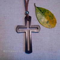 Generic Indonesian_Rosewood_ round ed_ hollow _section_ cross necklace pendant _/_ sweater chain
