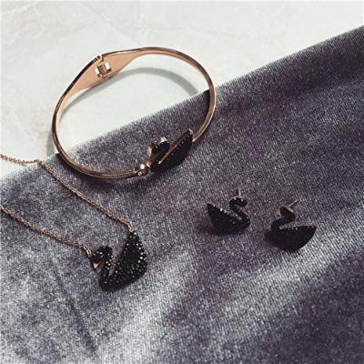 Generic Direct_delivery_of_high-end_ fashion _aosphere_Micro_Pave_super_ flash black swan necklace pendant clavicle chain bracelet earrings women girl