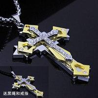 Generic Zodiac_ cross necklace pendant Korean men man boy steel _Leo_Gemini_ crystal pendant necklace ornaments accessories