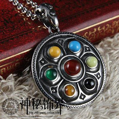 Generic Qibao_ lotus _Buddhist_mantra_amulets_ retro gem _asylum_transit_ steel necklace pendant jewelry _influx_of_ people men man boy _and_ women
