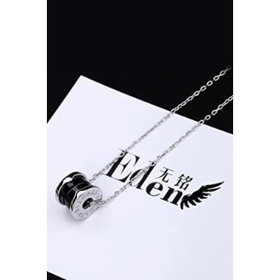 Generic S_[town_shop_treasure-_ black _ceramic_925_Pure_ silver pendant necklace s