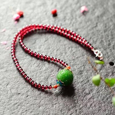 Generic Eiji_ Natural _and_Tian_Biyu_ pearl necklace pendant _with_ Natural _4.5_specifications_about_18_burgundy_garnet