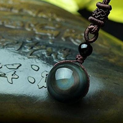 Generic Natural _obsidian_ pendant necklace men man boy Korean fashion jewelry _tide_ man boy men personality accessories