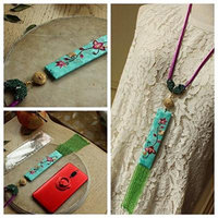 Generic wood_community-sided_hand-embroidered_ Beads ,_tiny_ ear tassel s_ long necklace pendant Lucky __catwalk_ style _vegetarian_version