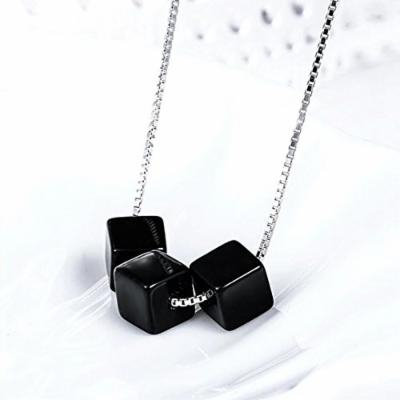 Generic Chubby_ love _obsidian_square_ Miss _Fang_Kuai_transport_block_ 925 silver necklace pendant simple _and_ stylish