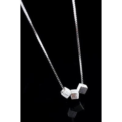 Generic 925_Pure_ silver _brushed_square_clavicle_ chain